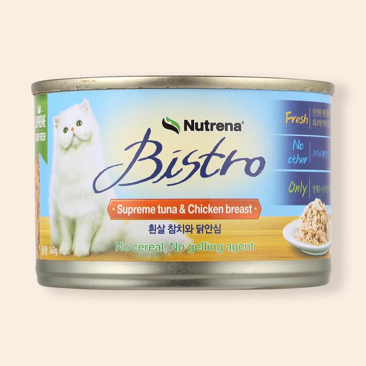 뉴트리나 비스트로 흰살참치와 닭안심 캔 160g
