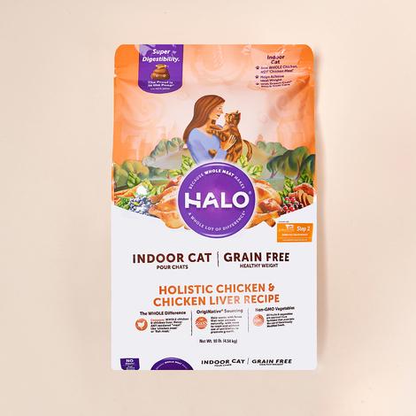 HALO 인도어 헬시웨이트 그레인프리 치킨&치킨간 4.54kg