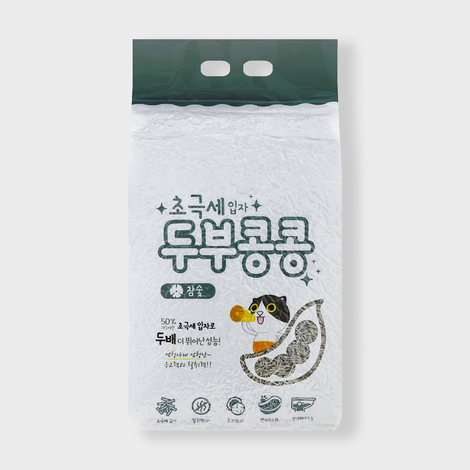 두부콩콩 초극세입자 두부모래 참숯 2.8kg